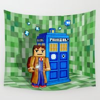 cartoons Wall Tapestries featuring 8bit Blue Phone box iPhone 4 4s 5 5c 6, pillow case, mugs and tshirt by Three Second