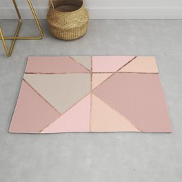 Modern rose gold peach blush pink color block Rug