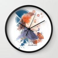jennifer lawrence Wall Clocks featuring Jennifer Lawrence (Deco Art) by Rene Alberto