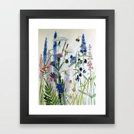 Wildflower in Garden Watercolor Flower Illustration Painting Framed Art Print