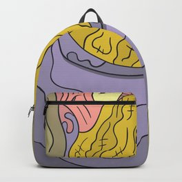 Abstract face portrait colorful with shades and ink outline Backpack