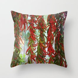 Strung and Hanging Red and Green Chili Peppers Drying Throw Pillow