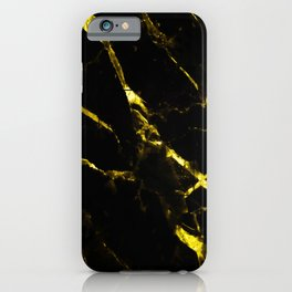 Black ad gold faux marble iPhone Case