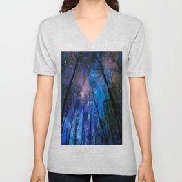 Black Trees Dark Blue Space Unisex V-Neck