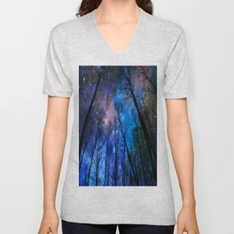 Black Trees Dark Blue Space Unisex V-Neck