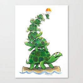 Teetering Turtle Tower Canvas Print