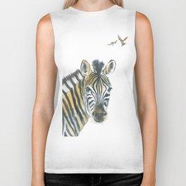 Zebra and Birds Biker Tank