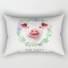 Too Sweet to Eat Vegan Statement Pig Watercolor Rectangular Pillow