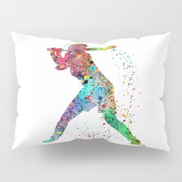 Baseball Softball Player Sports Art Print Watercolor Print Girl's softball Pillow Sham