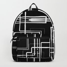 Black and White Multi-lines Backpack