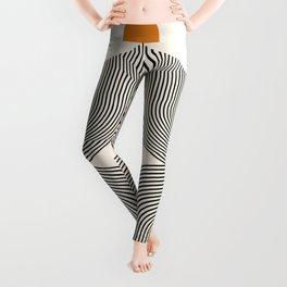 Abstraction_SUN_LINE_BLACK_POP_ART_Minimalism_004Q Leggings
