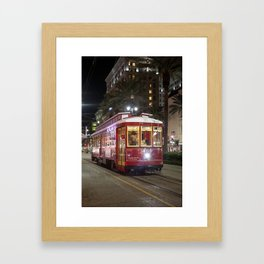 New Orleans Canal Street Car at Night Framed Art Print