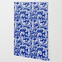 Sapphire Blue Retro Chic Swirl Wallpaper