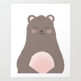 Rosy cheeked bear, nursery print. Art Print