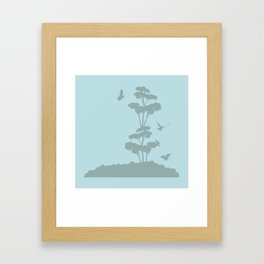 Birds And The Giant Tree - Blue/Gray Framed Art Print