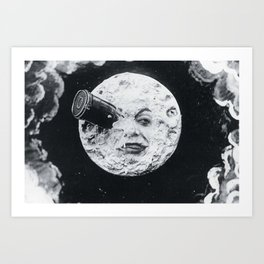 Vintage 1902 'Man in the Moon' silent film black and white photography Art Print
