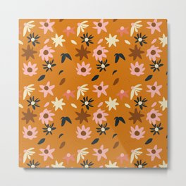 Fall flowers pattern Metal Print