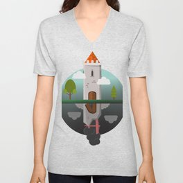 Everything Falls - Two Towers;One Standing, One Fallen Unisex V-Neck