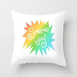 Spread Joy! (Rainbow Starburst Design) Throw Pillow