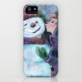 Kiss a snowman iPhone Case
