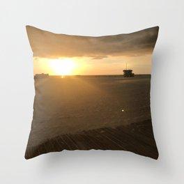 Boardwalk Beach Sunset Throw Pillow
