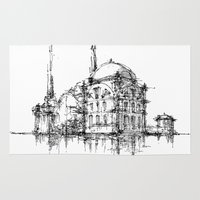 islam Area & Throw Rugs featuring Dolmabahce Mosque by Nikoloz Lekveishvili