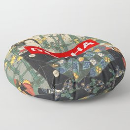 Geisha with Cherry Blossoms (Sakura trees) Floor Pillow