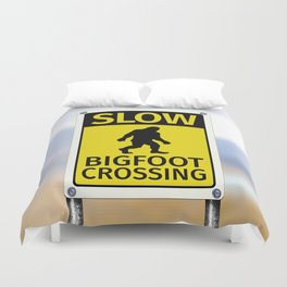 Bigfoot Crossing Sign Duvet Cover