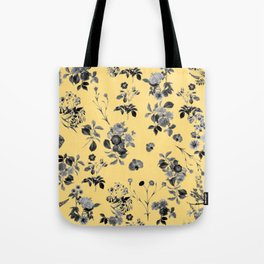 Black and White Floral on Yellow Tote Bag