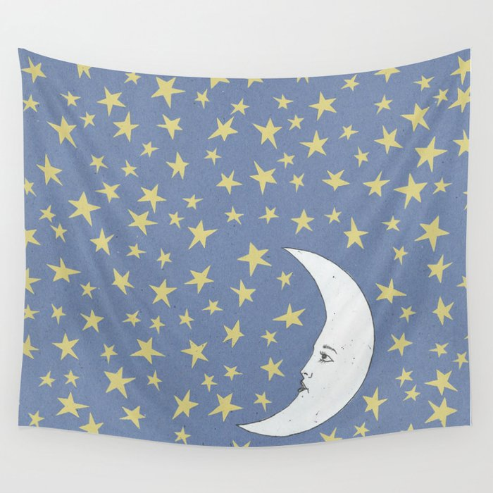 To the Mooon to the Starrs Wall Tapestry