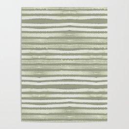 Simply Shibori Stripes Green Tea and Lunar Gray Poster