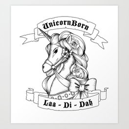 Skyrim Parody - Unicorn Born LAA DI DAH Art Print