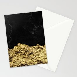 Rough Gold Torn and Black Marble Stationery Cards