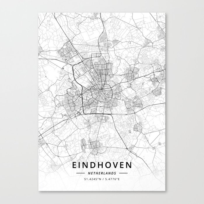 Eindhoven, Netherlands - Light Map Canvas Print by designermapart