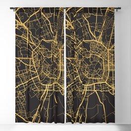 MILAN ITALY GOLD ON BLACK CITY MAP Blackout Curtain