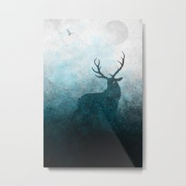 Space Stag Silhouette Metal Print