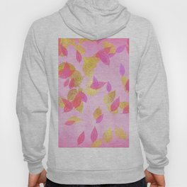 Autumn - world 5 - gold glitter leaves on pink background Hoody