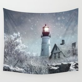 New England Winter Lighthouse Wall Tapestry