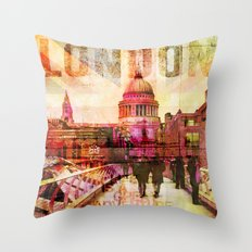 London St. Pauls Cathedral modern illustration typography Throw Pillow