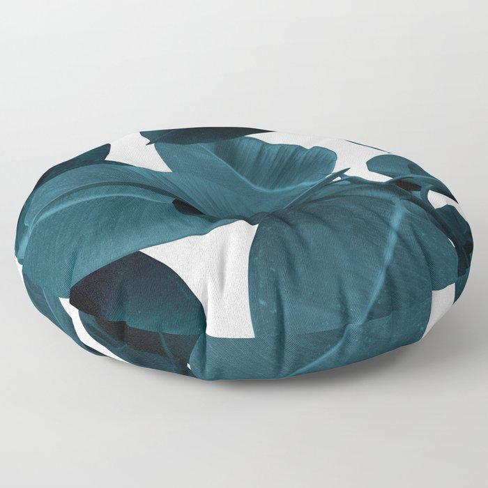 Indigo Plant Leaves Floor Pillow