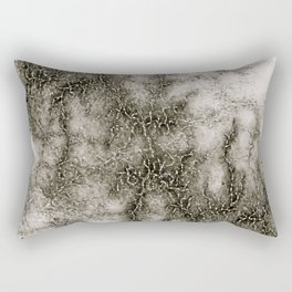 Gray Marble Pattern Black And Silver Vined Rectangular Pillow