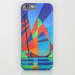 Cubist Abstract Junk Boat Against Deep Blue Sky iPhone Case