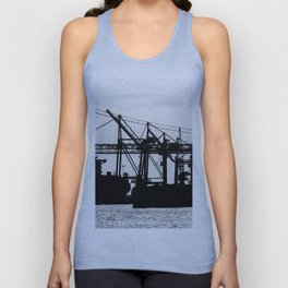 Metallic Architectures Docked Cargo Ships Unisex Tank Top