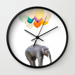 Dreaming Elephant Flying, Animal Zoo Nursery Photo, Large Printable Birthday Party Wall Art Wall Clock