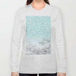 Turquoise Sea Mermaid Glitter Marble Long Sleeve T-shirt