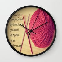 scripture Wall Clocks featuring Psalm 139 Baby Scripture by KimberosePhotography