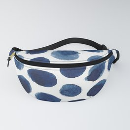 Watercolor Navy Blue Polka Dots Fanny Pack