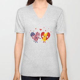Spain American and Spanish Flag Hearts I Espanol design Unisex V-Neck