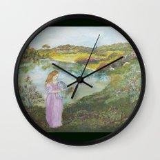 Girl Setting a Bird Free Wall Clock