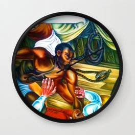 """African American Classical Masterpiece """"Capture African Slave Amistad Revolt"""" by Hale Woodruff Wall Clock"""